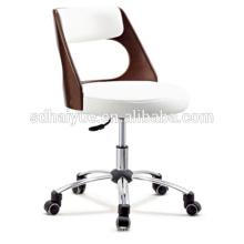 Mobília superior do escritório executivo da madeira compensada do couro branco da grão com base do cromo