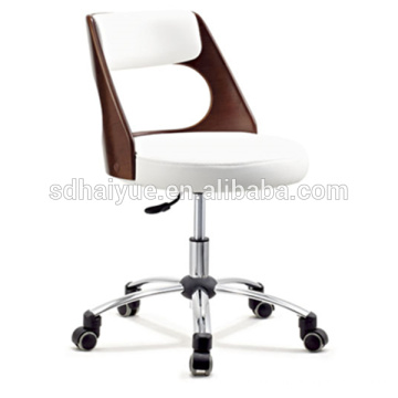 Top grain white leather plywood executive office furniture with chrome base
