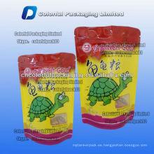 La comida del animal doméstico 100g se levanta el bolso del embalaje de la cerradura con zip para la tortuga con la ventana / la cremallera se levanta bolsas para la comida de la tortuga