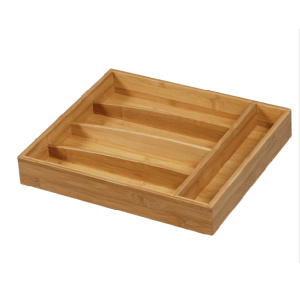 Bamboo cutlery tray with 5 compartments