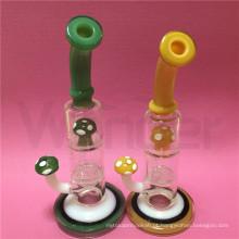 Cachimbo de água de vidro com design de cogumelo para fumar