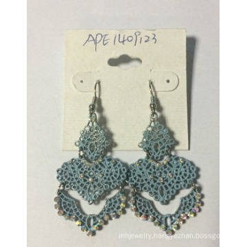 5A Fashion Jewelry Blue Lace Earrings with Metal