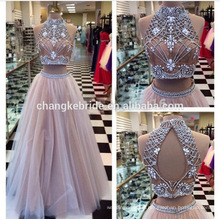 Custom Made Two Piece Beaded Evening Dress Backless Long Sexy 2016 prom dress