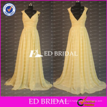 China Custom Made Cap Sleeve V Neck Backless Long Chiffon Light Yellow Bridesmaid Dress