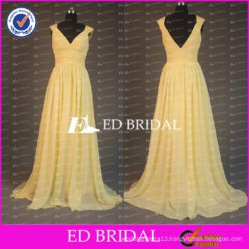 China Custom Made Cap Sleeve V Neck Backless Long Chiffon Light Yellow Bridesmaid Dress