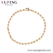 75185 Xuping bijuterias made in China atacado simples pulseira de contas de ouro para as mulheres