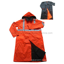 High Quality Police Reversible Raincoat with Reflective Tape