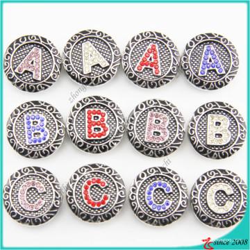 Venta caliente del alfabeto botones a presión para la pulsera de cuero de la joyería
