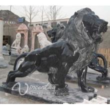 vente chaude pierre sculpture style européen en marbre noir lion à vendre