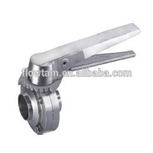 sanitary stainless steel butt-clamped butterfly valve