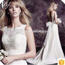 Bare Back Lace piso longitud personalizado hacer largo formal vestido de novia de novia