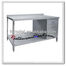 Gabinete de trabajo de acero inoxidable S024 con estante inferior y salpicaduras
