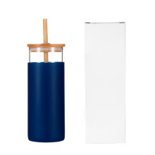 Unique 450ml Silicone Sleeve Bamboo Lid And Straw Drinking Glass Cup Water Bottle