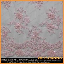 Tecido de renda rosa bordado com contas e lantejoulas Vestidos de casamento, Decorações, Tecido de rendas com contas 52 '' No.CA256B-1