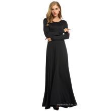 Moda al por mayor de las mujeres musulmanas abaya mangas largas mujeres se visten