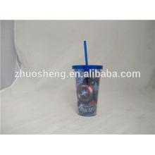 vaso de cerveza de plástico reutilizable alta pared doble estándar de 450ml con paja curva y tapa
