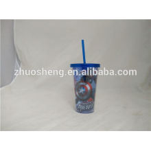 450ml High standard double wall reusable plastic beer tumbler with curved straw and lid