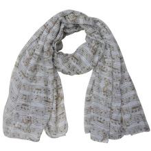 Écharpe imprimée de note de musique de Voile de polyester de Madame Lady (YKY4216)