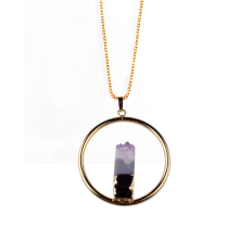 Gold Plated Amethyst Pendant Necklace Charm Pendulum