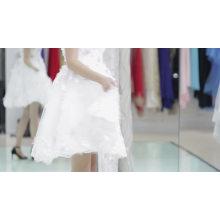 Heißer verkauf und günstigen preis hellrosa abendkleid stoffe kurze design über knielangen abendkleid 2017 mit schatz hals