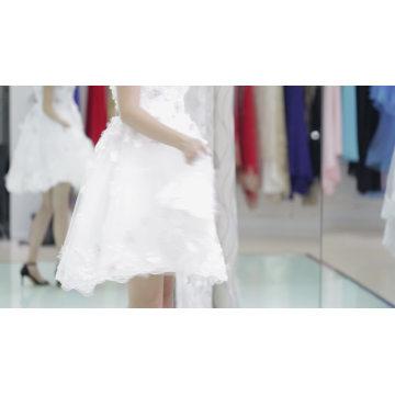 Venta caliente y precio barato vestido de noche rosa telas diseño corto sobre la rodilla vestido de noche 2017 con cuello de amor