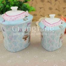 Standard Export Safety Package Ceramic Tea Coffee Sugar Canister Set