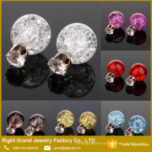12mm Cracked Shattered Ball With Prong Setting Cubic Zircon Earring Studs