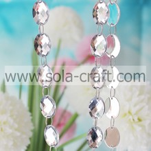 Acrílico Crystal Mirror Faceted Oval Round Bead Garland