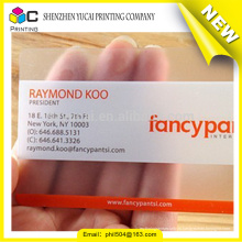 Торговая гарантия высококачественная прозрачная пластиковая визитная карточка