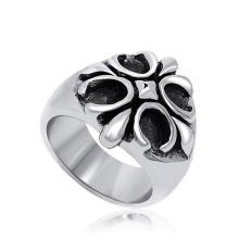 Ретро цветок крест кольцо диафрагмы на стороне ювелирных изделий нержавеющей