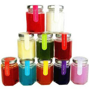 Multi-colored scented candles