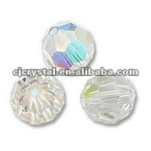 6MM facetado grânulos de vidro redondos, contas de vidro para lustre, novo DIY grânulos redondos de vidro solto