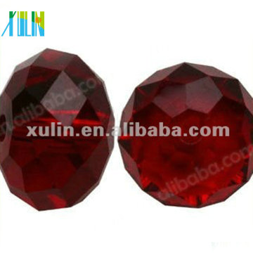 Chinese Crystal Glass Beads 5040# Faceted Rondelle 10mm RUBY AB