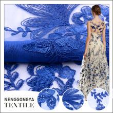 Tela bordada del cordón coreano plano azul elegante del precio barato