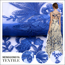 Дешевой цене элегантный синий плоский корейский кружева вышитые ткани