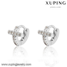 91730 Fashion Cute CZ Cross Rhodium Imitation Jewelry Baby Earring