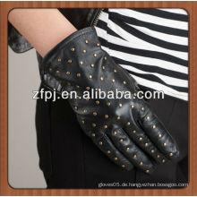Damen new fashioned Echtes Schaf Leder Handschuhe mit Nieten