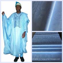 Color azul de algodón damasco tela africana Guinea Brocade Shadda venta por mayor Nigeria Jacquard Bazin Riche envío gratuito