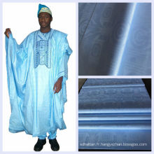Bleu Couleur Coton Damassé Tissu Africain Guinée Brocade Shadda Gros Nigéria Jacquard Bazin Riche Livraison Gratuite