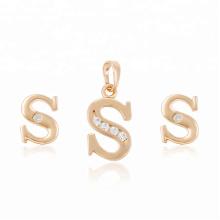 64023 moda venta al por mayor de China barato 18k tipo de letra delicada diamante blanco chapado en oro joyería ses