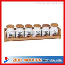 2015 Nuevas herramientas de cerámica únicas de la especia de 6 PCS del diseño fijadas con el estante de madera