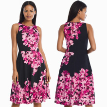 Floral Printed Scuba Fit-and-Flare Dress