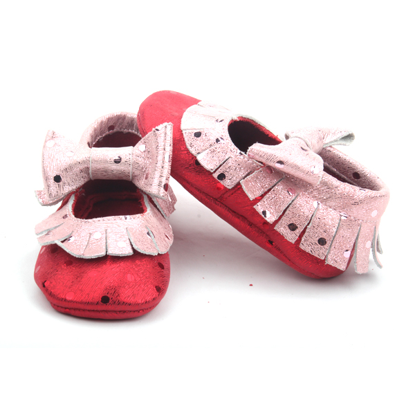 Fancy Baby Girls Pink Metallic Leather Moccasins