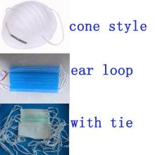 Máscara cirúrgica do estoque do estoque - tipos de cone amarrados laço do ouvido da orelha do fornecedor Kxt-FM18