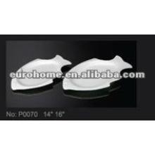 Plaques de snacks en forme de poisson en porcelaine -guangzhou eurohome P0070