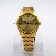 Melhor Relógio de pulso de aço inoxidável chapeado do bracelete do ouro para o homem e a mulher