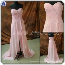 PP2583 véritable échantillon en perles en mousseline de soie courte longue robe de bal