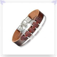 Joyería de moda pulsera de acero inoxidable pulsera de cuero (lb377)