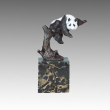 Animal Statue Panda Climbing Tree Bronze Sculpture Tpal-302