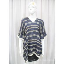 Damenmode Baumwolle Polyester Voile Gestrickte Stickerei Shirt (YKY2228)
